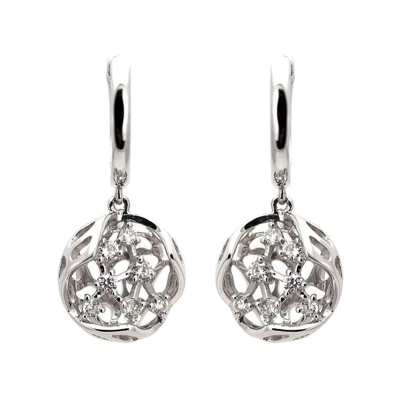 18k White Gold Diamond Love-Nest Earrings